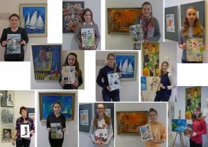 Die Schülerinnen mit ihren Gestaltungen vor dem Lieblingsbild in der Ausstellung von Armin Stübe